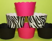 Cupcake Wrappers in Hot Pink  Black and Zebra Modern Chic Birthday (2 sets for a total of 24)