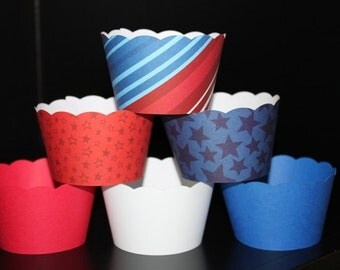 Cupcake Wrappers in Red, Blue and White Perfect for 4th of July and Labor Day