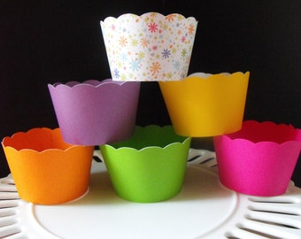 Cupcake Wrappers in colorful colors... Great for candyland party