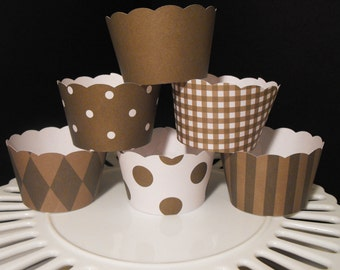 Cupcake Wrappers assorted designs in Brown
