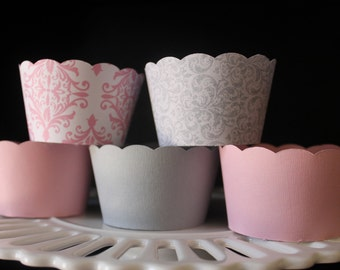Pink and  Grey Cupcake Wrappers