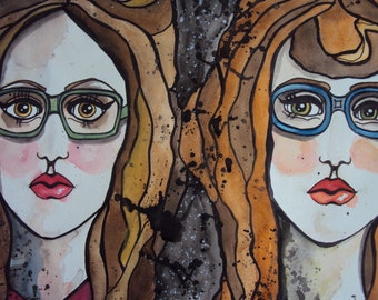 "Glasses ""Four Eyes"" Watercolor and Acrylic Female Painting (Original Painting, not print)"