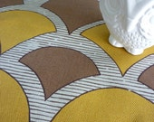70's vintage mustard brown upholstery fabric