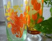 60's vintage set of two floral stem glasses