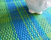 70's vintage chenille blue green upholstery fabric