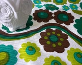 70's vintage floral cotton upholstery fabric