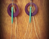 howlite turquoise spikes, purple metal circle cut outs & ivory peacock feather strands