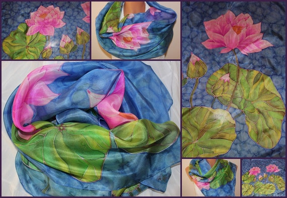 """Hand painted silk scarf """"WATER LILLIES"""" blue green violet purple lilies water"""