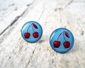 Ear studs, Light Blue Red Cherry, Mother's Day Earrrings (E28)