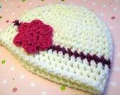 Baby Girl Hat - Fuschia Skinny Headband Beanie with Flower Clip Newborn Photo Prop Ready to Ship