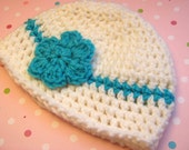 Baby Girl Hat - Turquoise Skinny Headband Beanie with Flower Clip Newborn Photo Prop Ready to Ship