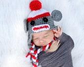 Crochet Sock Monkey Hat Baby Newborn Photo Prop Boy Girl Sizes 0-3 Months 3-6 Months 6-12 Months