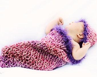 Lavender Cherry Blossom Newborn Cocoon and Beanie Set