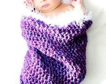 Purple Cocoon Newborn Photo Prop - Furry White Fringe
