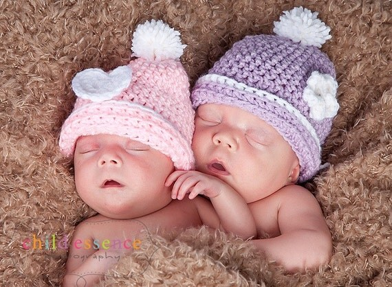 Newborn Twin Girl Pastel Beanie Set - Photographer Deal Pink Purple Spring Photo Prop