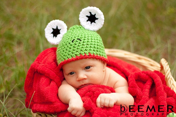 Frog Hat Newborn Photo Prop