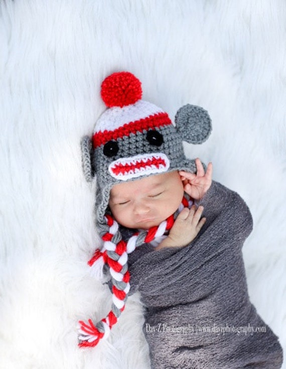 Crochet Sock Monkey Hat Baby Newborn Photo Prop Boy Girl Sizes 0-3 Months 3-6 Months 6-12 Months