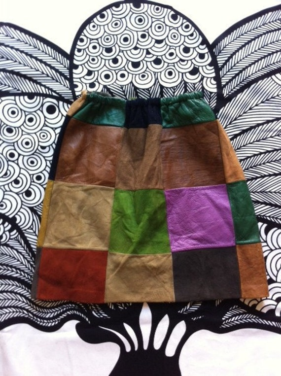 Orig 60s leather suede PATCHWORK mini skirt