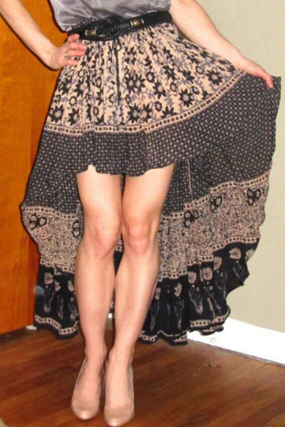 vtg 70s style Boho Hippie Festival India Gauze Gypsy Top Fishtail Skirt M/ L