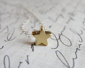 Gold star necklace on silver chain - silver & gold jewelry