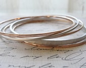 Rose gold and silver bangles - silver and rose gold bracelets - simple rose gold jewelry