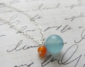 Orange and blue silver necklace - blue and orange necklace - petite simple silver jewelry
