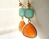 Orange and pale blue gold earrings - tangerine and aqua - aventurine earrings