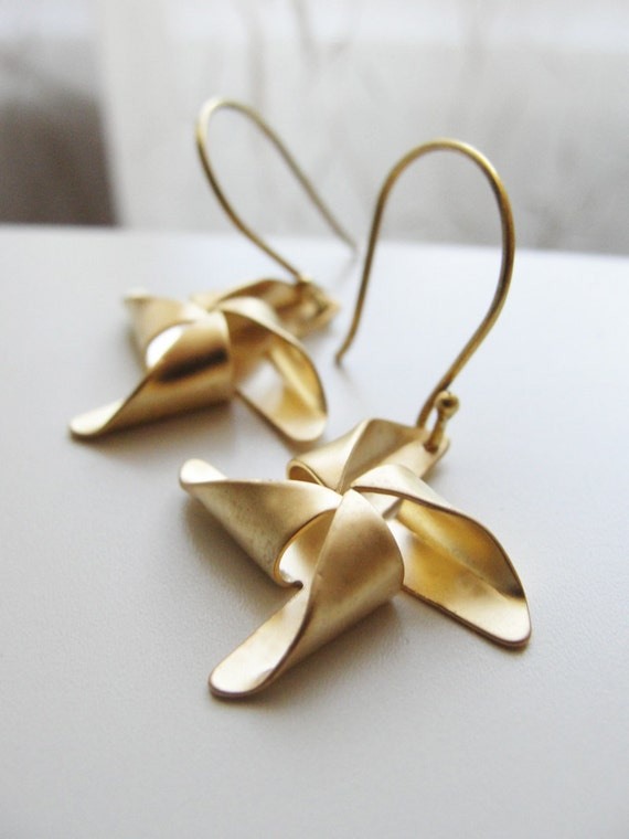 Gold pinwheel earrings - gold and sterling silver jewlery