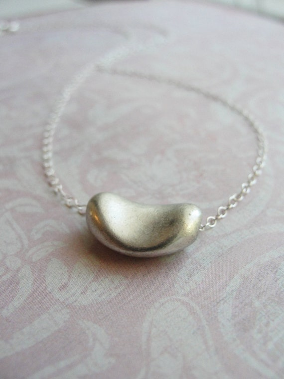 Silver bean necklace - silver necklace - petite modern jewelry