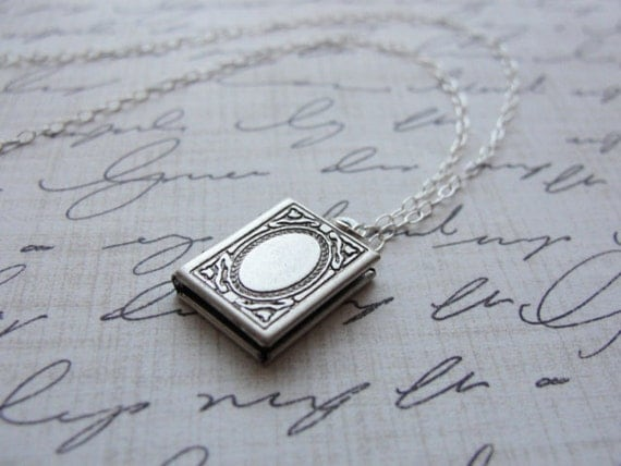 Tiny rectangle silver locket - simple silver book locket - dainty silver necklace