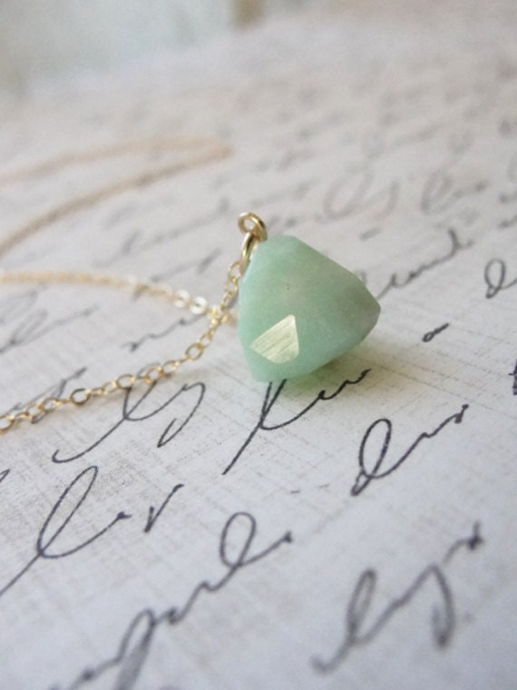 Peruvian opal necklace - opal chunk necklace - mint green gold necklace