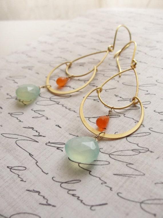 Pale blue and orange chandelier earrings - chalcedony earrings