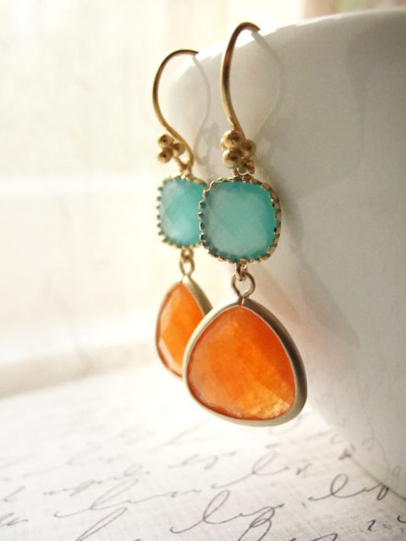 Orange and pale blue gold earrings - tangerine and aqua - aventurine earrings