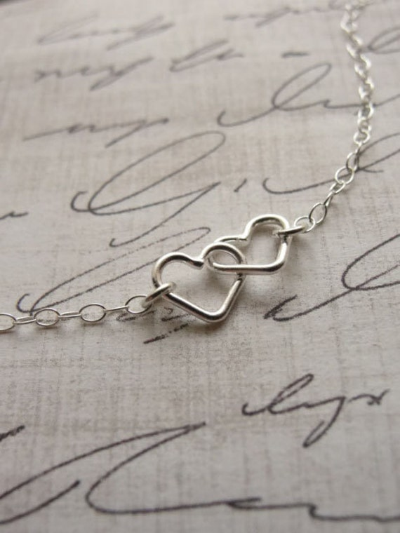 Double heart necklace - Sterling silver heart necklace - love necklace