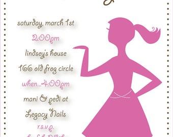 Girly and Pink Birthday Invitation (Digital File)