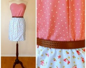 polkadot 1950's pink sweetheart dress with blue ditsy floral and bow skirt. Handmade. S,M