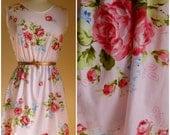 Vintage floral 1950's inspired summer dress. Handmade cotton tea dress. XS,S,M,L
