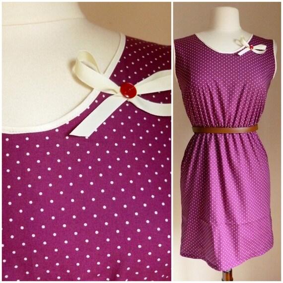 Maroon polkadot 1940's inspired sundress. Handmade cotton tea dress with brooch. XS,S,M,L