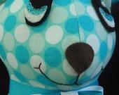 """SALE Blue/Aqua dot 14"""" stuffed plush yo yo bear"""
