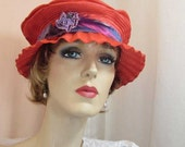 Bright rose coral hat with crimped brim