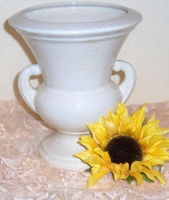 Vintage White Flower Urn Vase Planter