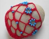 Beaded River Stone - Lace Crochet Beach Rock