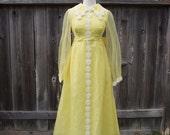 Vintage 70s Maxi Chiffon Dress with Daisy Appliques