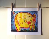 "Happy Yellow Pig, Print 11""X14"""