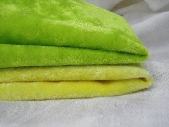 2 Colors Vintage Velvet LONG PILE Miniature Mini Bear Fabric LIME Green & Yellow