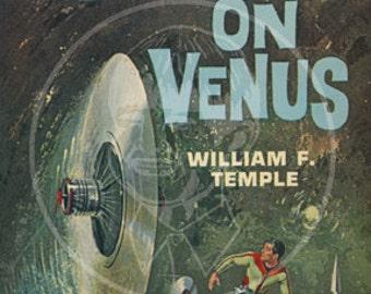 Battle on Venus - 10x15 Giclée Canvas Print of a Vintage Pulp Paperback cover