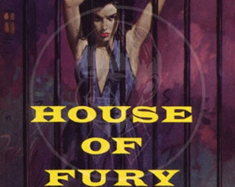 House of Fury  - 10x15 Giclée Canvas Print of a Vintage Pulp Paperback Cover