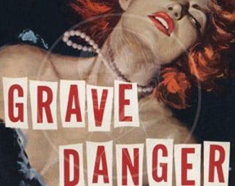 Grave Danger - 10x15 Giclée Canvas Print of Vintage Pulp Paperback