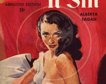 They Call It Sin - 10x15 Giclée Canvas Print of a Vintage Pulp Paperback Cover