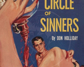 Circle of Sinners - 10 x 17 Giclée Canvas Print of a Vintage Pulp Paperback Cover